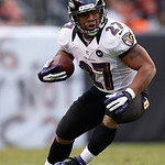Baltimore Ravens running back Ray Rice (27) runs the ball against the Cleveland Browns in the second half of an NFL football game in Cleveland, Sunday, Nov. 4, 2012. (AP Photo/Rick Osentoski …