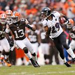 Baltimore Ravens cornerback Cary Williams (29) returns an interception against the Cleveland Browns in the third quarter of an NFL football game in Cleveland, Sunday, Nov. 4, 2012. (AP Photo …