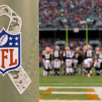 A special wrap on the goal post at Cleveland Browns Stadium celebrate's the league's Salute to Service at an NFL football game between the Cleveland Browns and the Baltimore Ravens Sunday, N …