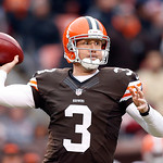 Cleveland Browns quarterback Brandon Weeden passes against the Baltimore Ravens in the fourth quarter of an NFL football game in Cleveland, Sunday, Nov. 4, 2012. (AP Photo/Rick Osentoski)