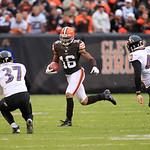 Cleveland Browns wide receiver Josh Cribbs (16) runs the ball against the Baltimore Ravens in an NFL football game Sunday, Nov. 4, 2012, in Cleveland. (AP Photo/Tony Dejak)