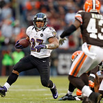 Baltimore Ravens running back Ray Rice (27) runs against Cleveland Browns safety T.J. Ward (43) in the fourth quarter of an NFL football game in Cleveland, Sunday, Nov. 4, 2012. (AP Photo/Ri …