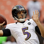 Baltimore Ravens quarterback Joe Flacco warms up before an NFL football game against the Cleveland Browns Sunday, Nov. 4, 2012, in Cleveland. (AP Photo/Mark Duncan)