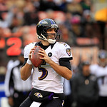 Baltimore Ravens quarterback Joe Flacco looks for a receiver during an NFL football game against the Cleveland Browns Sunday, Nov. 4, 2012, in Cleveland. (AP Photo/Tony Dejak)
