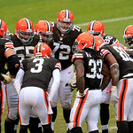 The Cleveland Browns huddle up during an NFL football game against the Baltimore Ravens Sunday, Nov. 4, 2012, in Cleveland. (AP Photo/Tony Dejak)