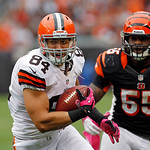 Cleveland Browns tight end Jordan Cameron (84) runs from Cincinnati Bengals linebacker Vontaze Burfict (55) after a catch in the fourth quarter of an NFL football game Sunday, Oct. 14, 2012, …