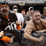 Cleveland Browns fans celebrate in an NFL football game against the Cincinnati Bengals Sunday, Oct. 14, 2012, in Cleveland. (AP Photo/Tony Dejak)