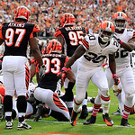 Cleveland Browns running back Montario Hardesty (20) celebrates after a 1-yard touchdown against the Cincinnati Bengals in the fourth quarter of an NFL football game Sunday, Oct. 14, 2012, i …