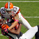 Cincinnati Bengals wide receiver A.J. Green is tackled by Cleveland Browns cornerback Joe Haden after a pass reception in the second quarter of an NFL football game Sunday, Oct. 14, 2012, in …