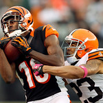 Cincinnati Bengals wide receiver A.J. Green (18) makes a catch against Cleveland Browns cornerback Joe Haden in the foruth quarter of an NFL football game Sunday, Oct. 14, 2012, in Cleveland …