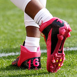 Cleveland Browns wide receiver Josh Cribbs wears pink shoes for Breast Cancer Awareness Month before an NFL football game against the Cincinnati Bengals Sunday, Oct. 14, 2012, in Cleveland.  …