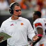 Cleveland Browns head coach Pat Shurmur gestures on the sidelines in the first quarter of an NFL football game against the Cincinnati Bengals Sunday, Oct. 14, 2012, in Cleveland. (AP Photo/T …