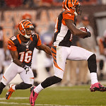 Cincinnati Bengals wide receiver Brandon Tate (19) runs the ball against the Cleveland Browns during an NFL football game Sunday, Oct. 14, 2012, in Cleveland. (AP Photo/Tony Dejak)