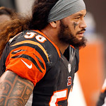 Cincinnati Bengals linebacker Rey Maualuga sits on the bench late in the fourth quarter of a 34-24 loss to the Cleveland Browns in an NFL football game on  Sunday, Oct. 14, 2012, in Clevelan …
