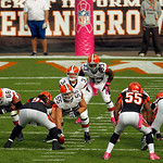 Cleveland Browns quarterback Brandon Weeden (3) waits for the snap from center Alex Mack (55) in the second quarter of an NFL football game against the Cincinnati Bengals Sunday, Oct. 14, 20 …