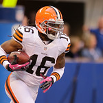 Cleveland Browns' Josh Cribbs runs during the first half of an NFL football game against the Indianapolis Colts Sunday, Oct. 21, 2012, in Indianapolis. (AP Photo/Michael Conroy)