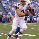 Cleveland Browns' Jordan Cameron is tackled by Indianapolis Colts' Antoine Bethea during the first half of an NFL football game Sunday, Oct. 21, 2012, in Indianapolis. (AP Photo/Michael Conr …