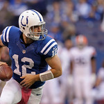 Indianapolis Colts' Andrew Luck hands off the football during the second half of an NFL football game against the Cleveland Browns Sunday, Oct. 21, 2012, in Indianapolis. (AP Photo/Michael C …