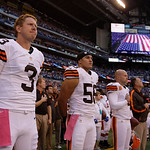 Cleveland Browns' Brandon Weeden listens as the national anthem is played before an football game against the Indianapolis Colts Sunday, Oct. 21, 2012, in Indianapolis. (AP Photo/Michael Con …