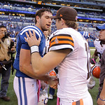 Indianapolis Colts' Andrew Luck (12) is congratulated by Cleveland Browns' Colt McCoy after the Colts defeated the Browns, 17-13, in an NFL football game Sunday, Oct. 21, 2012, in Indianapol …