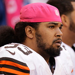 Cleveland Browns' John Hughes wears a pink hat for breast cancer awareness during the first half of an NFL football game against the Indianapolis Colts  Sunday, Oct. 21, 2012, in Indianapoli …