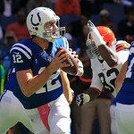 Indianapolis Colts' Andrew Luck looks to pass during the first half of an NFL football game against the Cleveland Browns Sunday, Oct. 21, 2012, in Indianapolis. (AP Photo/AJ Mast)