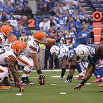 Cleveland Browns' Alex Mack (55)gives directions during the first half of an NFL football game against the Indianapolis Colts Sunday, Oct. 21, 2012, in Indianapolis. (AP Photo/Michael Conroy …