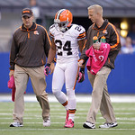 Cleveland Browns' Sheldon Brown is helped off the field during the second half of an NFL football game against the Indianapolis Colts Sunday, Oct. 21, 2012, in Indianapolis. (AP Photo/Michae …