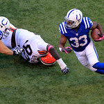 Indianapolis Colts' Vick Ballard (33) runs during the second half of an NFL football game against the Cleveland Browns Sunday, Oct. 21, 2012, in Indianapolis. (AP Photo/AJ Mast)