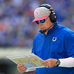 Indianapolis Colts interim head coach Bruce Arians looks over the plays during the first half of an NFL football game against the Cleveland Browns Sunday, Oct. 21, 2012, in Indianapolis. (AP …