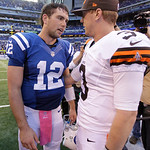 Indianapolis Colts' Andrew Luck, left, talks to Cleveland Browns' Brandon Weeden after the Colts defeated the Browns, 17-13, in an NFL football game Sunday, Oct. 21, 2012, in Indianapolis. ( …