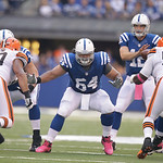 Indianapolis Colts' Samson Satele (64) blocks during the second half of an NFL football game against the Indianapolis Colts Sunday, Oct. 21, 2012, in Indianapolis. (AP Photo/Michael Conroy)