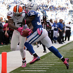 Cleveland Browns' Josh Gordon is tackled by Indianapolis Colts' Cassius Vaughn during the first half of an NFL football game Sunday, Oct. 21, 2012, in Indianapolis. (AP Photo/AJ Mast)
