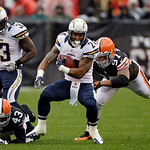 San Diego Chargers running back Ryan Mathews (24) breakes away from Cleveland Browns defensive end Jabaal Sheard (97) in the first quarter of an NFL football game Sunday, Oct. 28, 2012, in C …