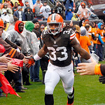 Cleveland Browns running back Trent Richardson (33) is introduced before an NFL football game against the San Diego Chargers Sunday, Oct. 28, 2012, in Cleveland. (AP Photo/Tony Dejak)