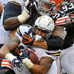 San Diego Chargers running back Ryan Mathews is tackled by Cleveland Browns defensive end Jabaal Sheard (97) in the third quarter of an NFL football game Sunday, Oct. 28, 2012, in Cleveland. …