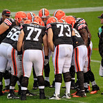 The Cleveland Browns offense huddles during the second quarter of an NFL football game against the San Diego Chargers Sunday, Oct. 28, 2012, in Cleveland. (AP Photo/Tony Dejak)