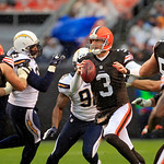 Cleveland Browns quarterback Brandon Weeden (3) scrambles in the first quarter of an NFL football game against the San Diego Chargers Sunday, Oct. 28, 2012, in Cleveland. (AP Photo/Tony Deja …