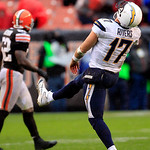 San Diego Chargers quarterback Philip Rivers (17) reacts after an incomplete pass to wide receiver Malcom Floyd late in the fourth quarter of an NFL football game against the Cleveland Brown …