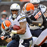 San Diego Chargers running back Ryan Mathews (24) is tackled by Cleveland Browns linebackers Kaluka Maiava and D'Qwell Jackson (52) in the first half of an NFL football game Sunday, Oct. 28, …