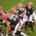Cleveland Browns quarterback Brandon Weeden (3) calls a play at the line in the second quarter of an NFL football game against the San Diego Chargers Sunday, Oct. 28, 2012, in Cleveland. (AP …