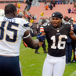 Cleveland Browns wide receiver Josh Cribbs (16) greets San Diego Chargers tight end Antonio Gates after the Browns' 7-6 win in an NFL football game on Sunday, Oct. 28, 2012, in Cleveland. Bo …