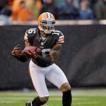 Cleveland Browns' Josh Cribbs fields a kickoff against the San Diego Chargers in the third quarter of an NFL football game Sunday, Oct. 28, 2012, in Cleveland. The Browns won 7-6. (AP Photo/ …