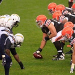 The San Diego Chargers and the Cleveland Browns line up in an NFL football game Sunday, Oct. 28, 2012, in Cleveland. (AP Photo/Tony Dejak)