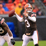 Cleveland Browns quarterback Brandon Weeden (3) looks for a receiver in an NFL football game against the San Diego Chargers Sunday, Oct. 28, 2012, in Cleveland. (AP Photo/Tony Dejak)