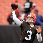 Cleveland Browns quarterback Brandon Weeden warms up before an NFL football game Sunday, Oct. 28, 2012, in Cleveland. (AP Photo/Tony Dejak)