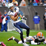 San Diego Chargers' Chris Carr eludes Cleveland Browns defensive end Auston English (94) on a kick return in the first half of an NFL football game Sunday, Oct. 28, 2012, in Cleveland. (AP P …