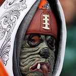 Cleveland Browns fan Will Brown watches the third quarter of an NFL football game against the San Diego Chargers, Sunday, Oct. 28, 2012, in Cleveland. (AP Photo/Mark Duncan)