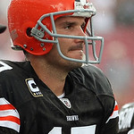 Cleveland Browns quarterback Jake Delhomme stands on the sidelines as the clock runs out in the fourth quarter of the Tampa Bay Buccaneers 17-14 win during an NFL football game Sunday, Sept. …