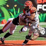 Cincinnati Bengals running back BenJarvus Green-Ellis (42) is tackled by Cleveland Browns linebacker Emmanuel Acho and outside linebacker Kaluka Maiava (56) in the second half of an NFL foot …
